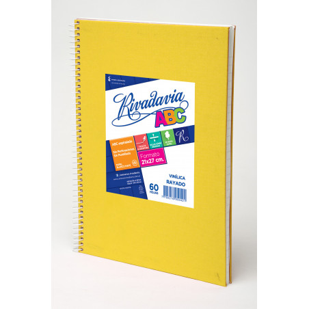 Cuaderno Rivadavia ABC Espiralado 60 hojas rayado. Forrado Azul