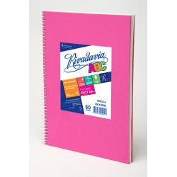 Cuaderno ABC Forrado Rosa con Espiral 21x27cm 60 Hojas...