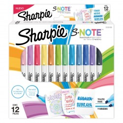Marcador Sharpie S·Note al agua x12