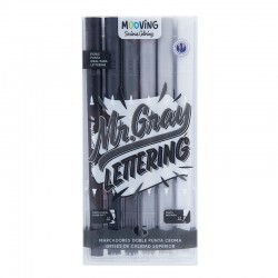 Marcadores Lettering Doble Punta Mooving Serious Coloring x6