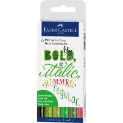 Set Faber Castell Pit Artist Hand Lettering Verde x6