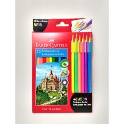 Lapices de colores Faber Castell x12 + 6 Neon