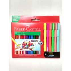 Marcadores Faber Castell Fiesta x12 +4 Neon + 2 Pastel