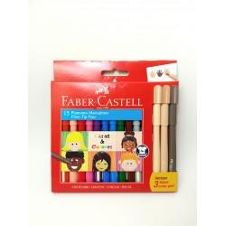 Marcadores Faber Castell Fiesta x12 Caras & Colores